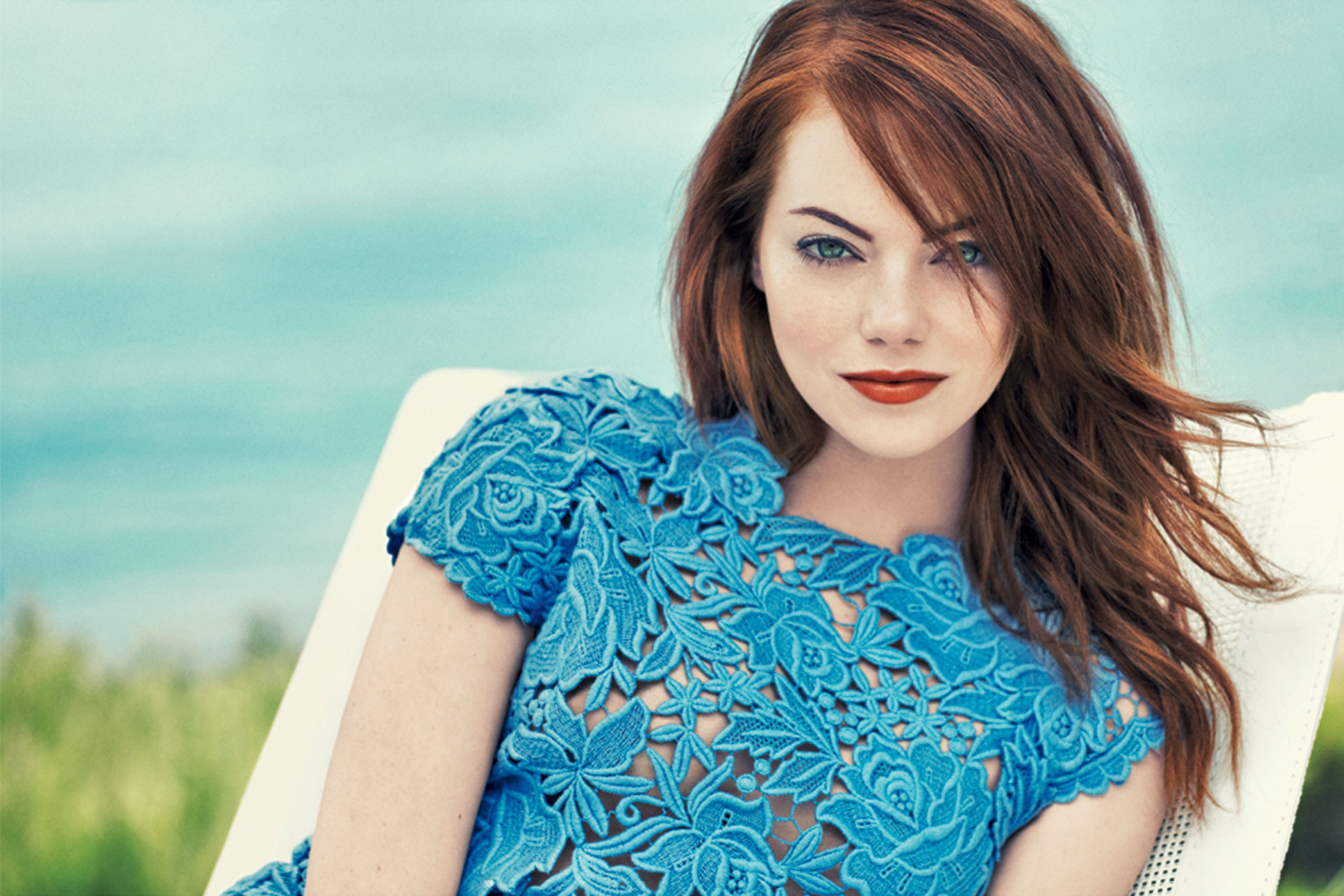 Emma Stone in a blue dress - Emma Stone Net Worth, Movies, Family, Boyfriends, Pictures and Wallpapers