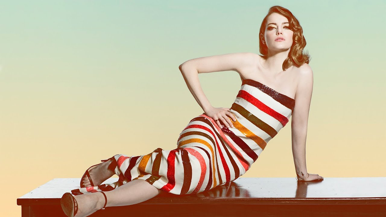 Emma Stone in a striped dress - Emma Stone Net Worth, Movies, Family, Boyfriends, Pictures and Wallpapers