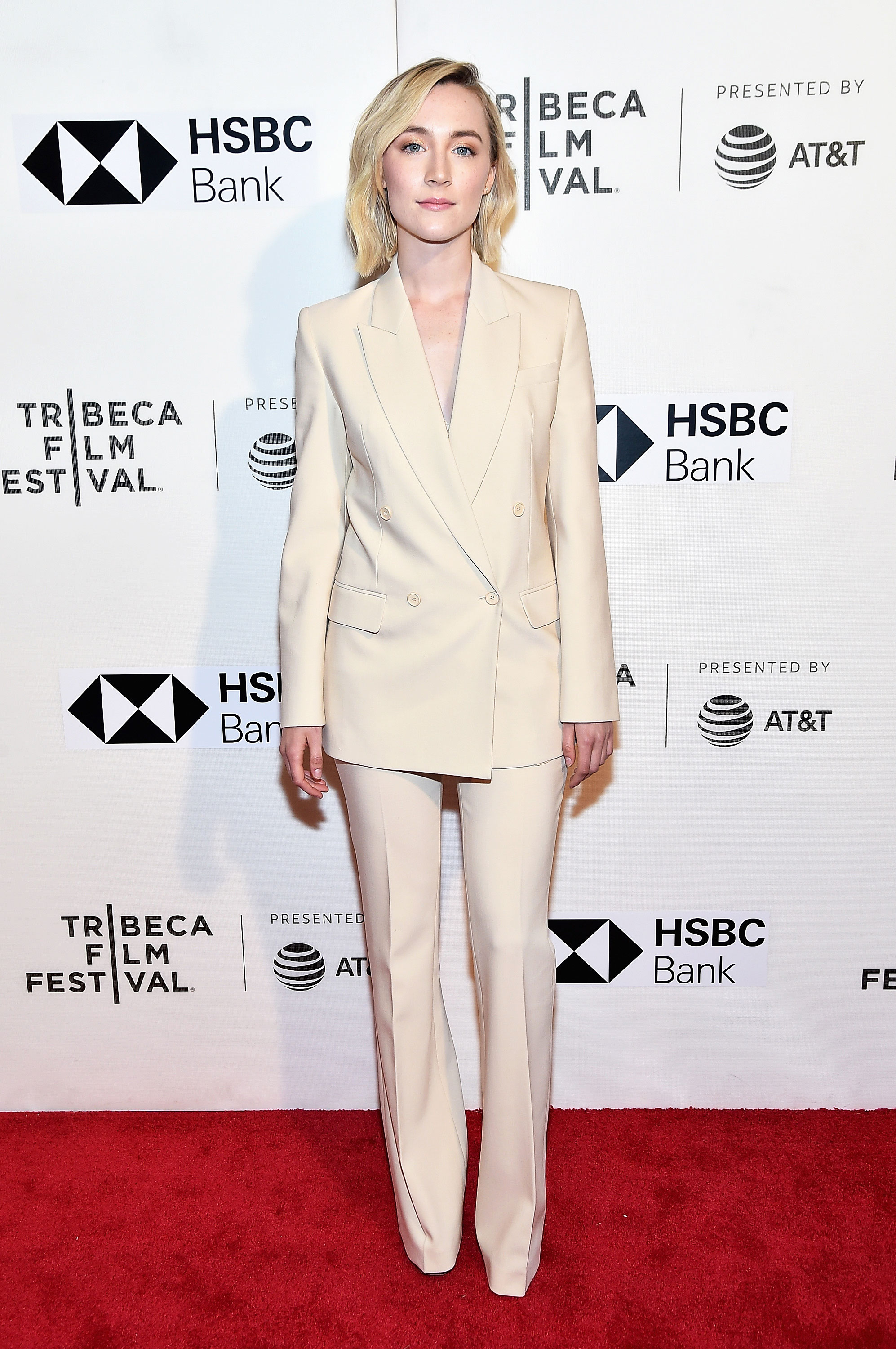 Saoirse Ronan in a white suit - Saoirse Ronan Net Worth, Movies, Family, Boyfriend, Pictures and Wallpapers