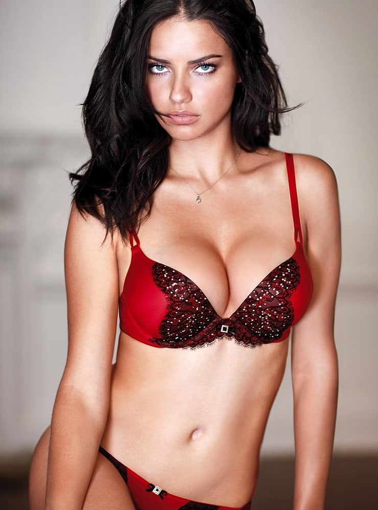 Adriana Lima Red Black Bra 1 - Adriana Lima Red Black Bra