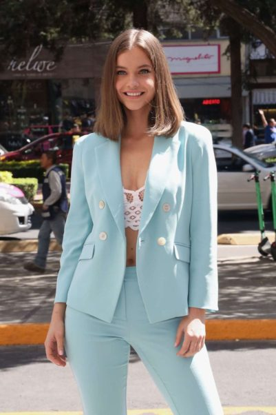 Barbara Palvin Blue Jacket Outside