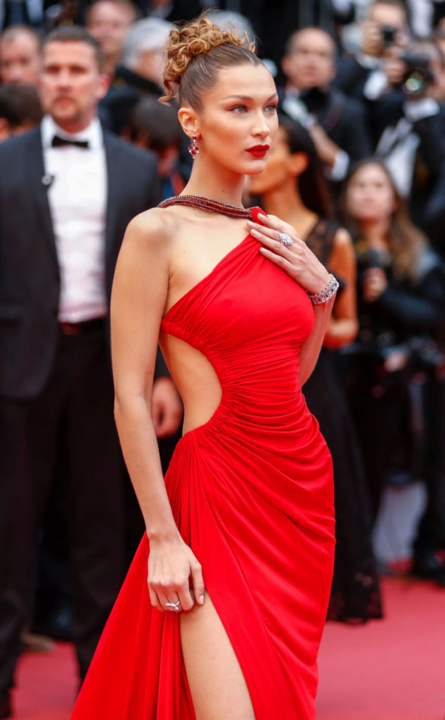 Bella Hadid In Red Dress 633x1024 - Bella Hadid In Red Dress