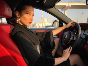 Bella Hadid Posing In The Car Pic 300x225 - Bella Hadid Bikini Posing