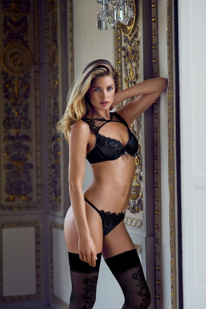 Doutzen Kroes Hot Lingerie Stockings 684x1024 - Doutzen Kroes Net Worth, Pics, Wallpapers, Career and Biography