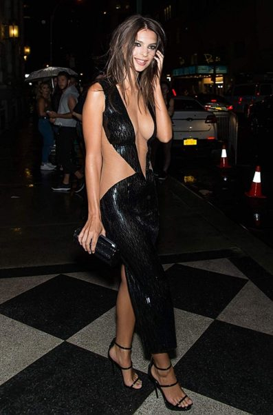Emily Ratajkowski Black Night Dress