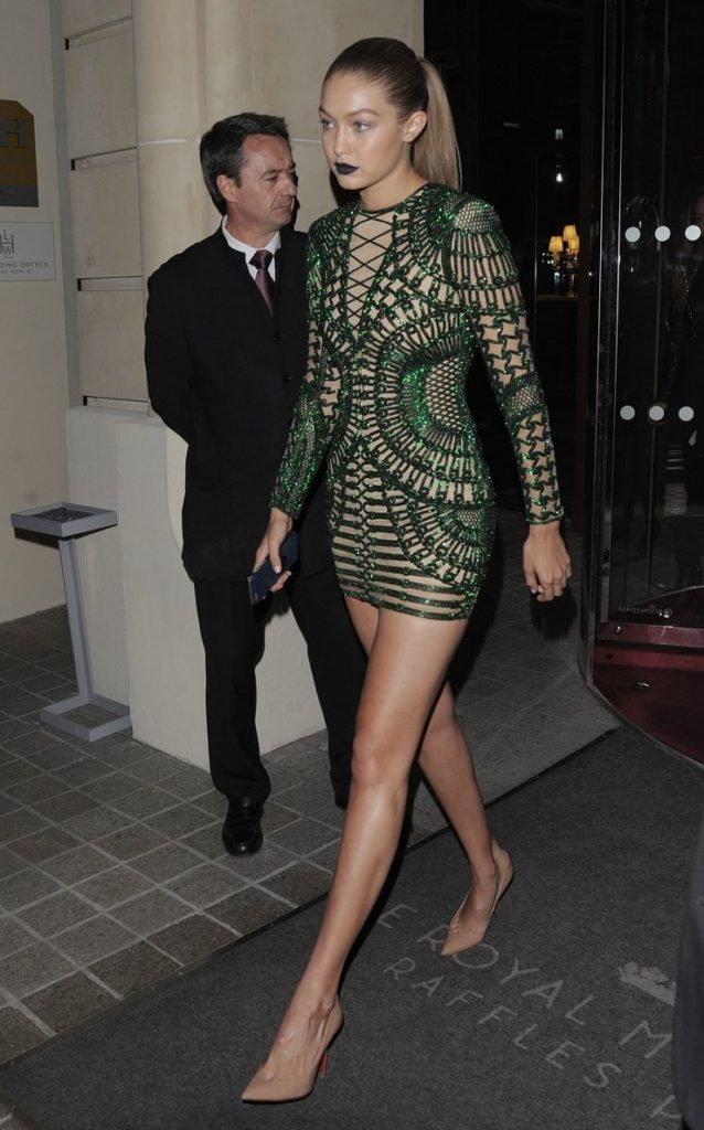 Hot Gigi Hadid Green Dress 638x1024 - Hot Gigi Hadid Green Dress