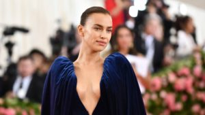 Irina Shayk Deep Revealing Blue Dress 300x169 - Irina Shayk Hot Yellow Bra