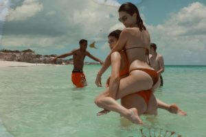 Kendall Jenner Enjoying In The Sea 300x200 - Hot Model Kendall Jenner Orange Dress