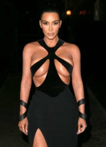 Kim Kardashian Hot Black Dress 217x300 - Kim Kardashian Hot Swimwear Posing