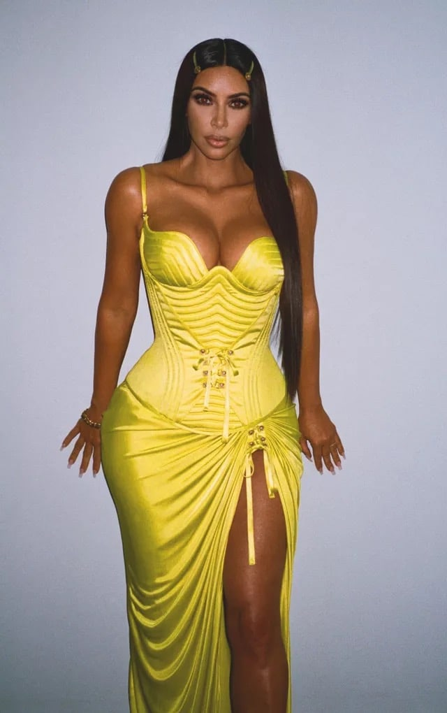 Kim Kardashian Nice Yellow Dress - Kim Kardashian Nice Yellow Dress