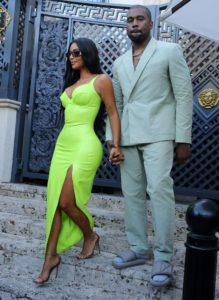 Kim Kardashian With Husband 219x300 - Kim Kardashian Hot Golden Dress