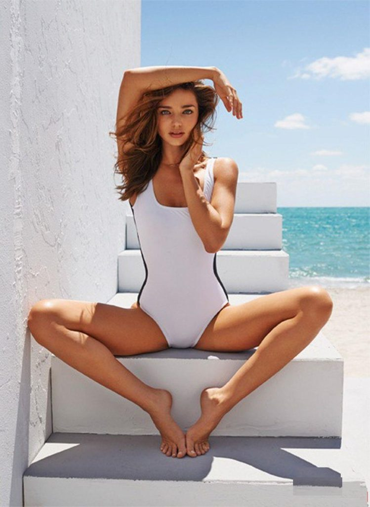 Miranda Kerr Hot White Swimwear Outdoors 749x1024 - Miranda Kerr Net Worth, Pics, Wallpapers, Career and Biography