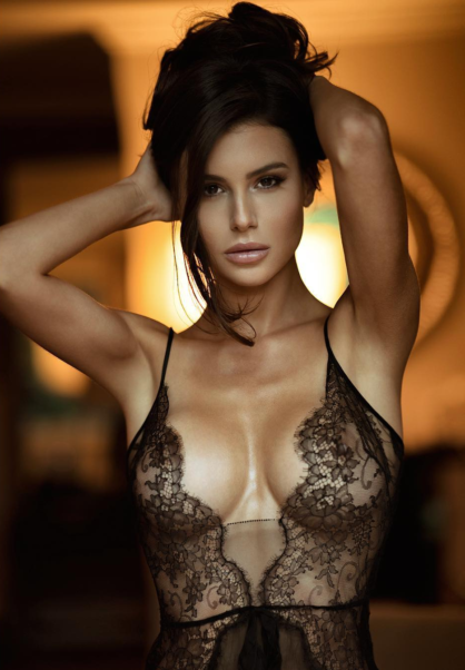Top Model Silvia Caruso Hot Black Lingerie