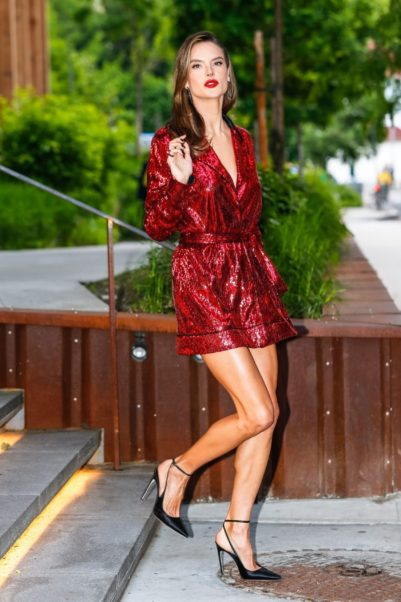 Alessandra Ambrosio Hot Red Dress
