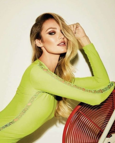 Candice Swanepoel Green Dress Pose