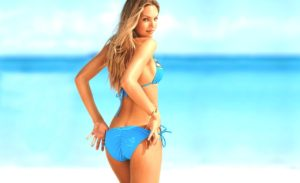 Candice Swanepoel Hot Blue Bikini Pose 300x183 - Candice Swanepoel Nice Swimwear Outdoors