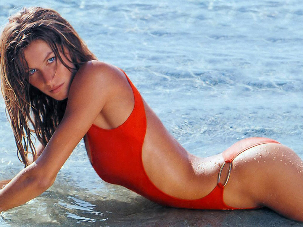 Gisele Bündchen Hot Red Swimsuit - Gisele Bündchen Net Worth, Pics, Wallpapers, Career and Biography