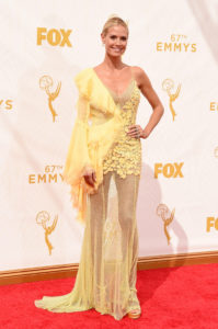 Heidi Klum Yellow Gala Dress 199x300 - Heidi Klum Black & White Face Pics