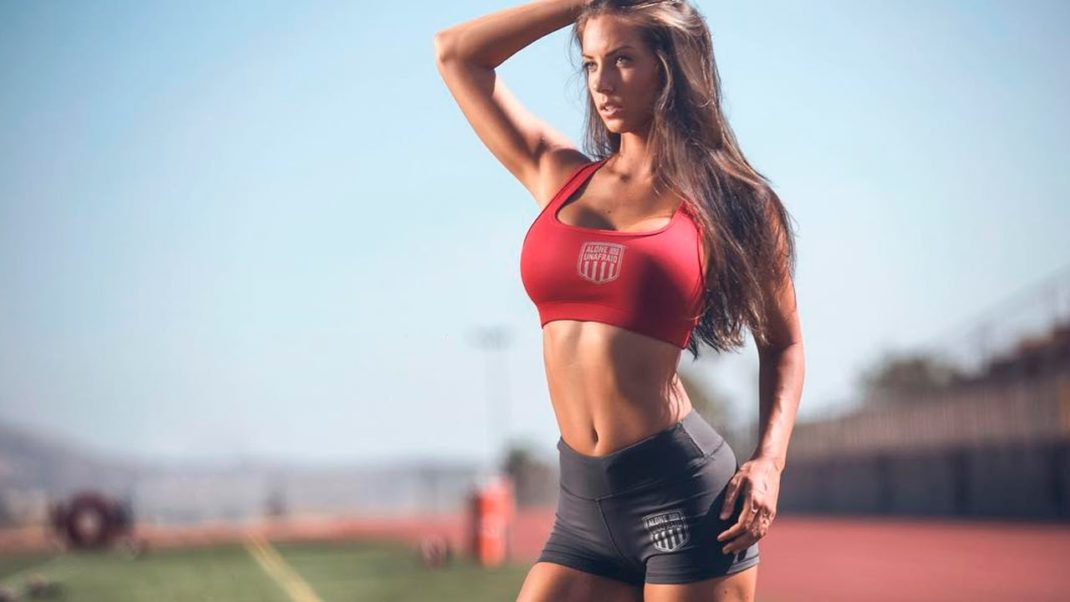 Janna Breslin Hot Sport Bra Outside Modeling