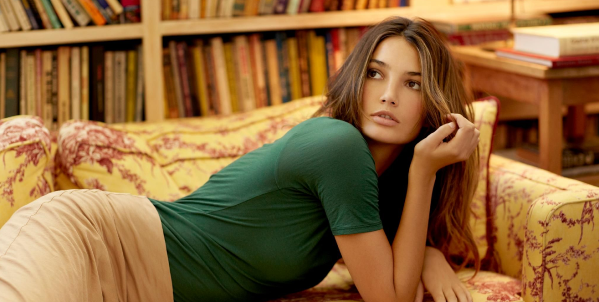 Lily Aldridge Couch Pose