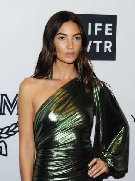 Lily Aldridge Green Dress