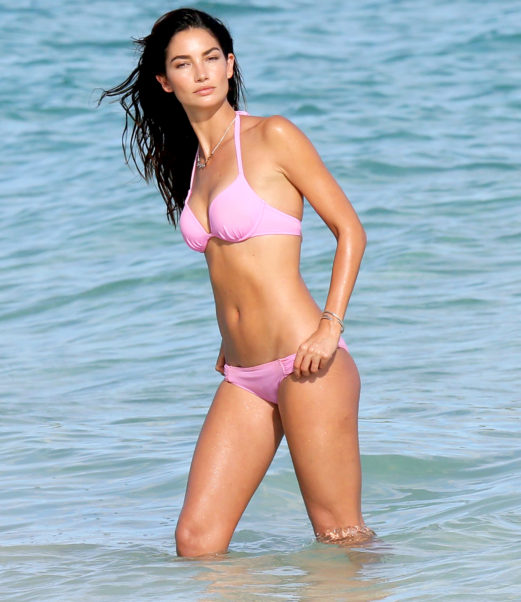 Lily Aldridge Hot Pink Bikini