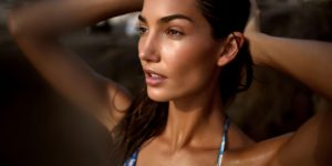 Lily Aldridge Wallpaper Pic 300x150 - Lily Aldridge Hot Blue Bikini