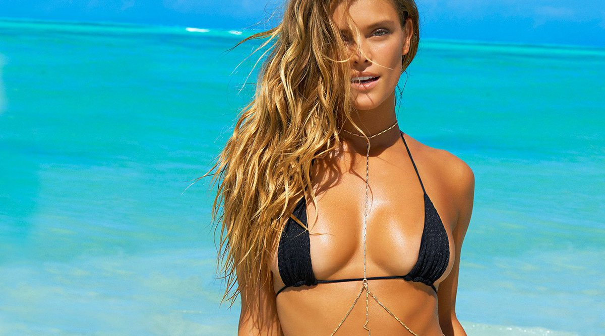 Nina Agdal Hot Black Bikini Wallpaper - Nina Agdal Hot Black Bikini Wallpaper