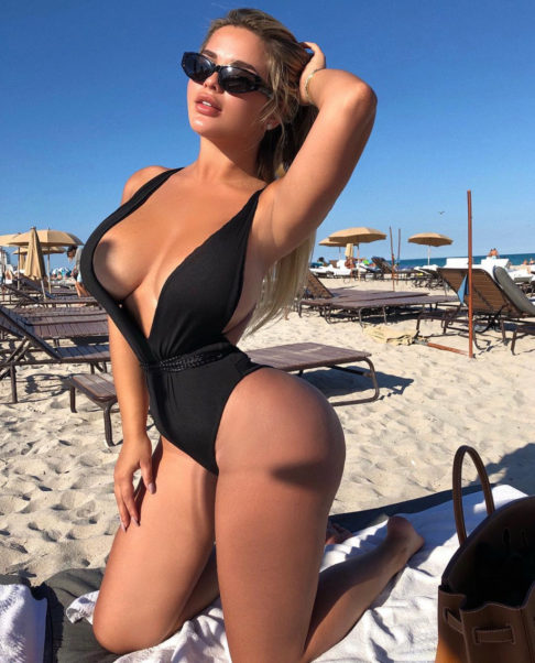 Anastasiya Kvitko Hot Black Swimsuit