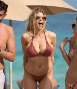 Charlotte McKinney Hot Bikini On The Beach 260x300 - Charlotte McKinney Deep Revealing Dress