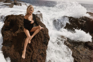 Charlotte McKinney Modeling By The Sea 300x200 - Charlotte McKinney Deep Revealing Dress