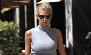 Charlotte McKinney Outside 300x182 - Charlotte McKinney Deep Revealing Dress