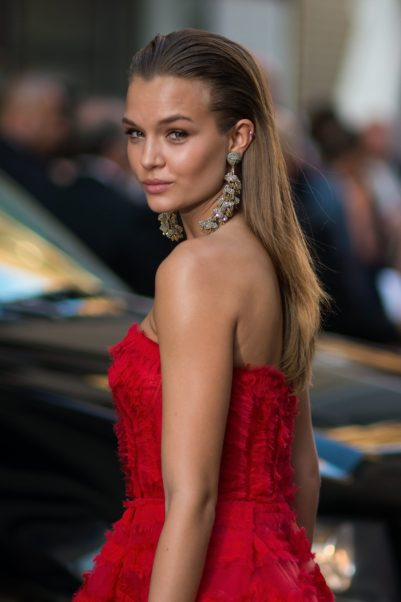Josephine Skriver Hot Red Dress
