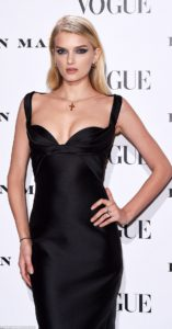 Lily Donaldson Black Dress 157x300 - Lily Donaldson Hot Red Lips