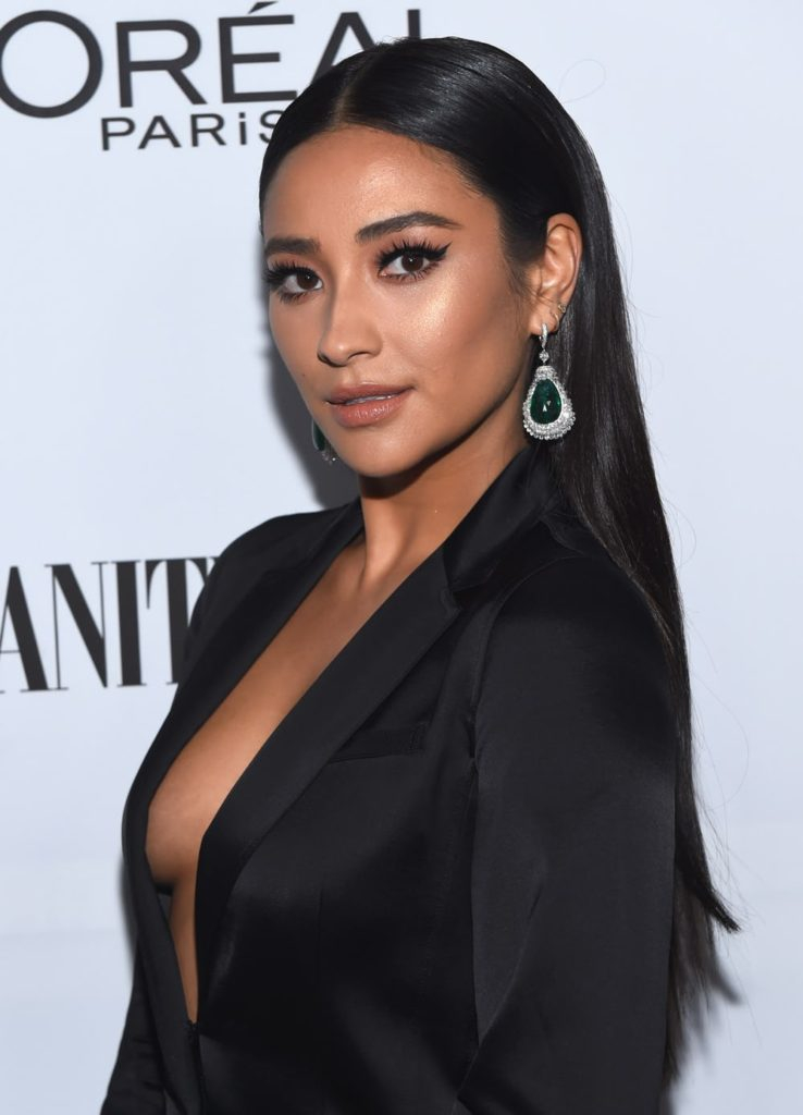 Shay Mitchell Deep Revealing Jacket 738x1024 - Shay Mitchell Net Worth, Pics, Wallpapers, Career and Biograph