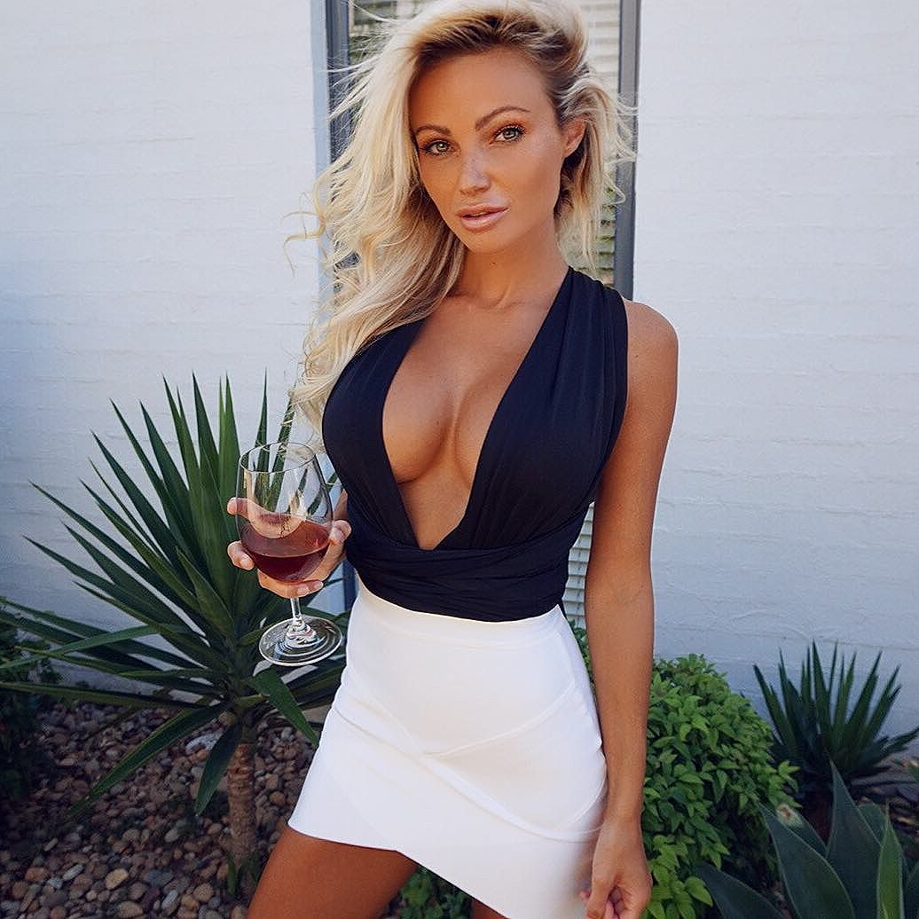 Abby Dowse Deep Revealing Blouse 1
