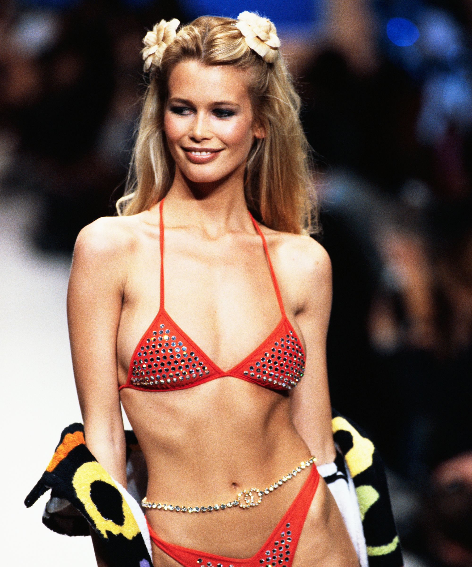 Claudia Schiffer Hot Red Bikini 1