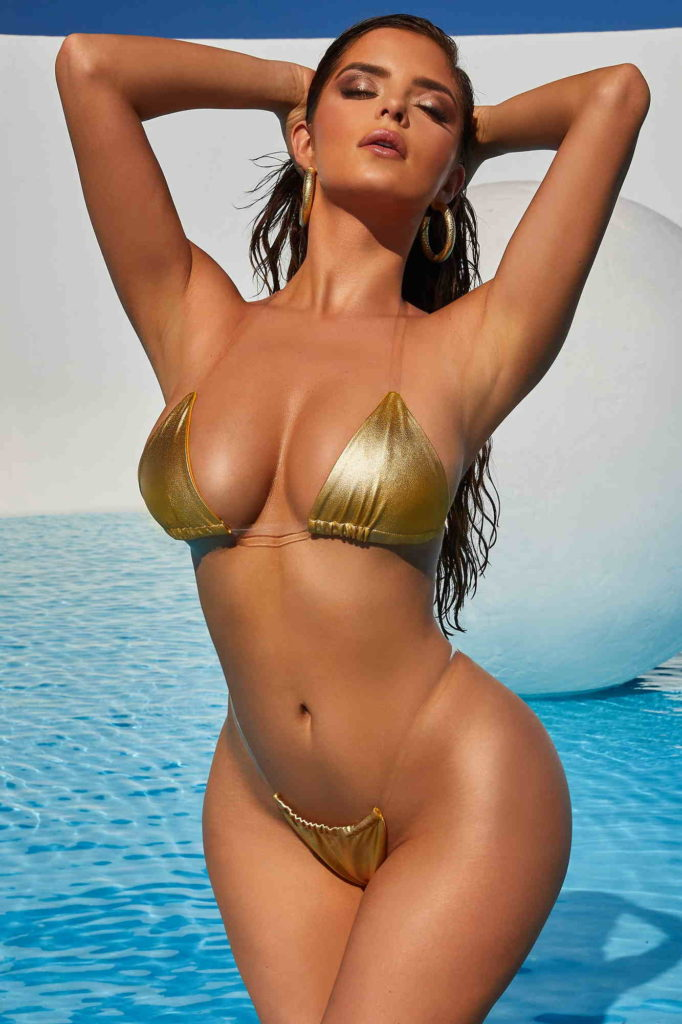 Demi Rose Hot Golden Bikini Modeling 682x1024 - Demi Rose Net Worth, Pics, Wallpapers, Career and Biography