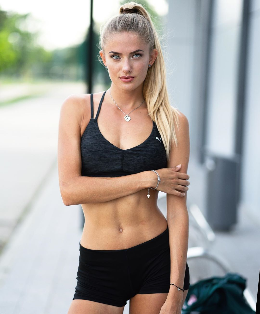 Alica Schmidt Black Sports Bra Pose - Alica Schmidt Net Worth, Pics, Wallpapers, Career and Biography