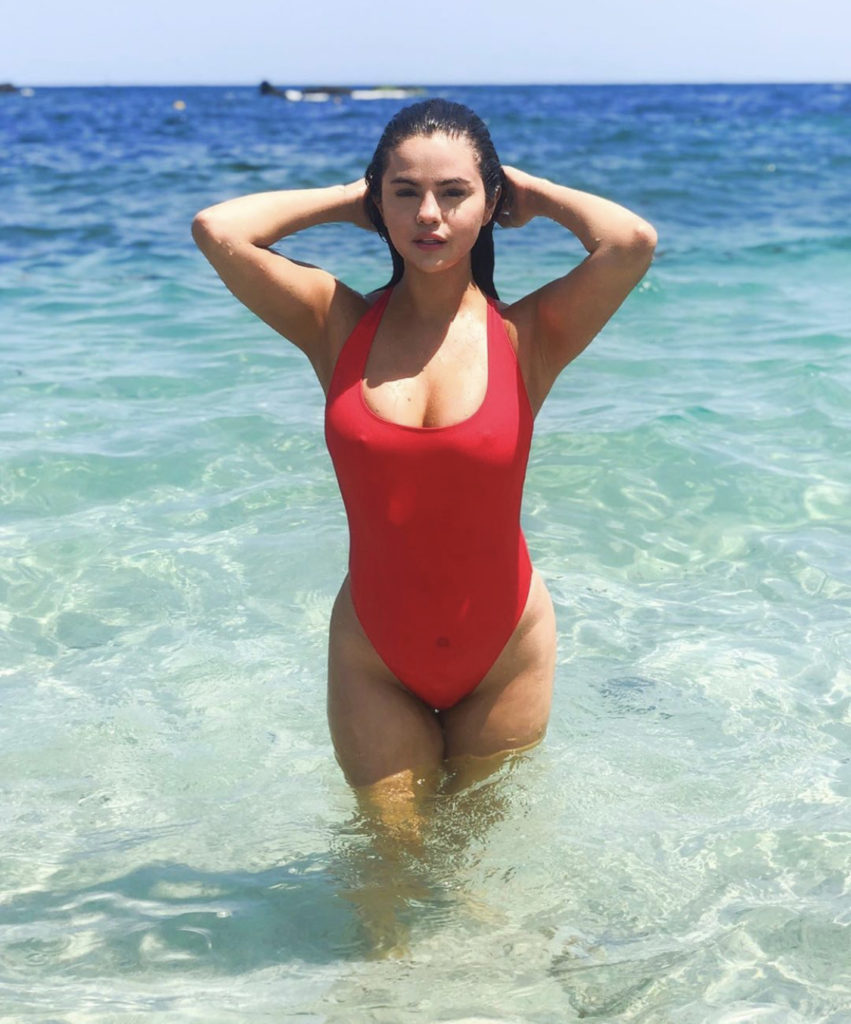 Selena Gomez Hot Red Swimsuit By The Sea 851x1024 - Selena Gomez Hot Red Swimsuit By The Sea