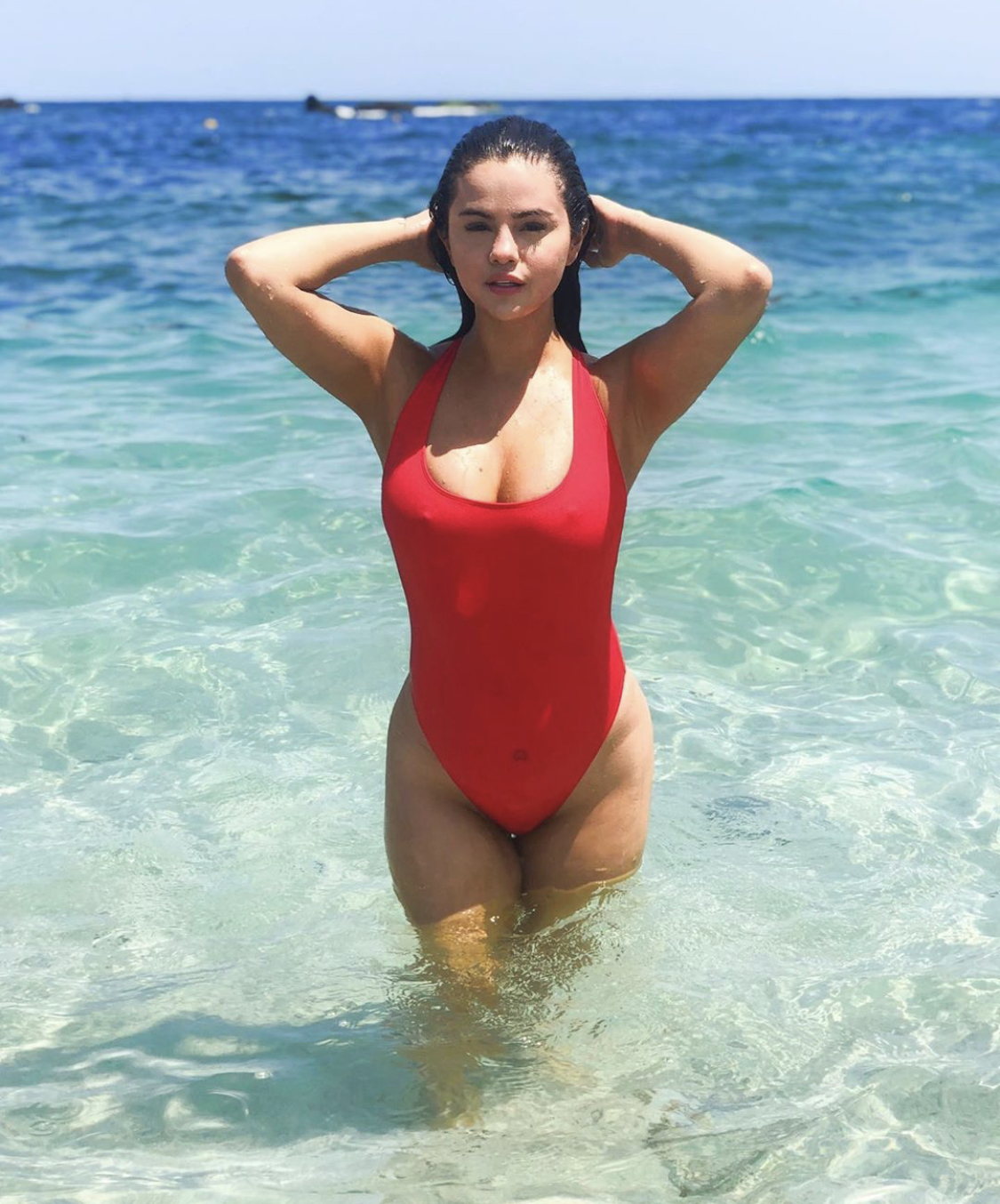 Selena Gomez Hot Red Swimsuit By The Sea - Selena Gomez Hot Red Swimsuit By The Sea