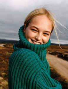 Jean Campbell Green Sweater 231x300 - Dorina Gegiçi Net Worth, Pics, Wallpapers, Career and Biography