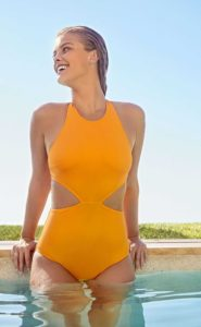 Nina Agdal Hot Yellow Swimsuit By The Pool